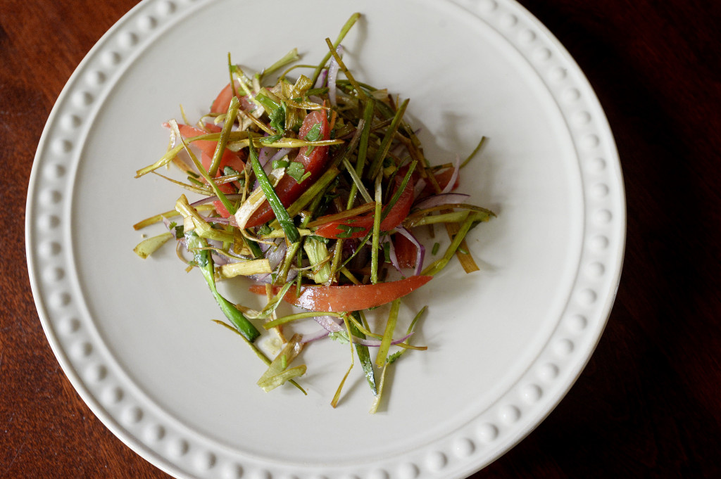 BRUNSWICK, ME - SEPTEMBER, 27: Crispy whole leek salad by Christine Burns Rudalevige Tuesday, September 27, 2016. (Photo by Shawn Patrick Ouellette/Staff Photographer)