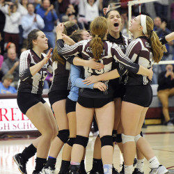 Greely celebrates its victory over Falmouth a Class A semifinal Wednesday night in Cumberland.