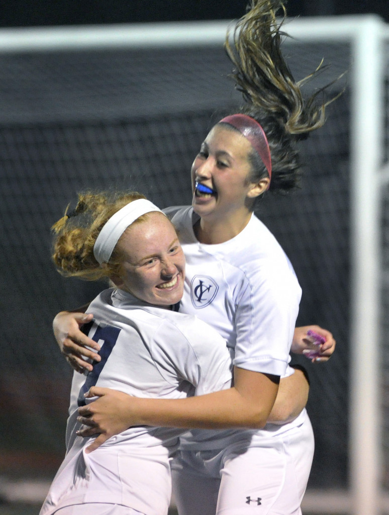 There have been a lot of goal celebrations this season for the Yarmouth girls' soccer team – this one has Callie Decker, left, and Olivia Feeley. The Clippers will bring a 13-1-1 record into the Class B South semifinals.