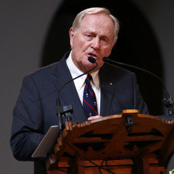 Jack Nicklaus speaks during a memorial service for Arnold Palmer in the Basilica at St. Vincent's College in Latrobe, Pa., on Tuesday.