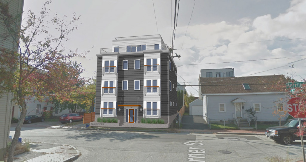 A rendering of the seven-unit condo building planned at 30 Merrill St., on Portland's Munjoy Hill. Courtesy Bild Architecture
