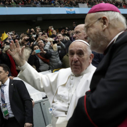 Pope Francis and Archibishop Anders Arborelius gather in Malmo, Sweden, on Tuesday to mark the Protestant Reformation.