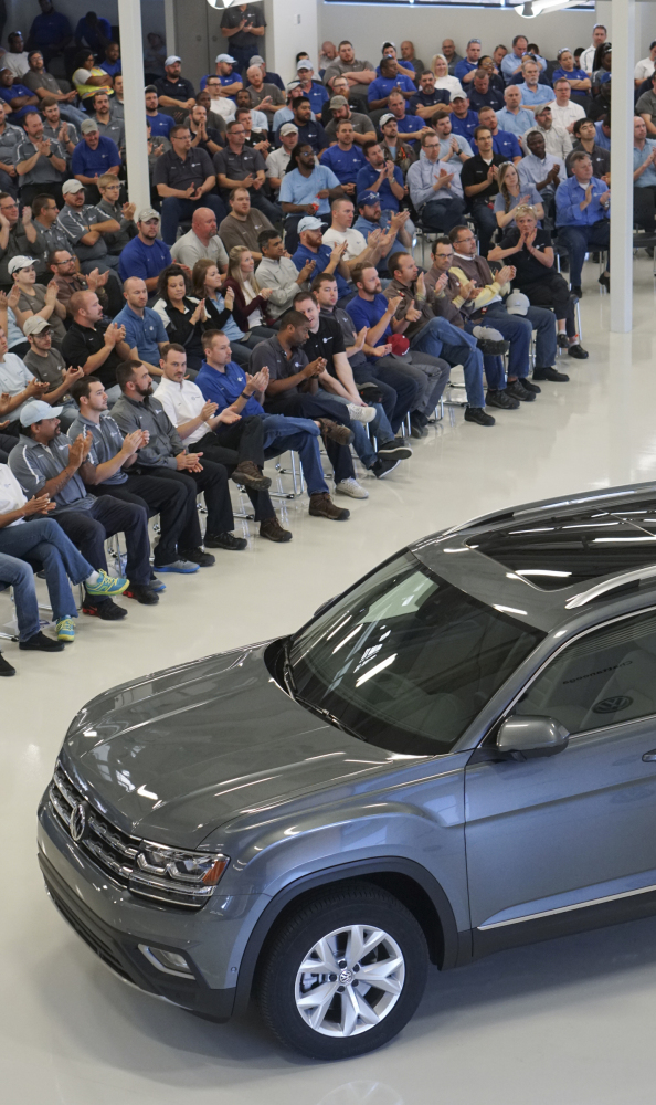 The new Volkswagen Atlas is unveiled to employees at Volkswagen Chattanooga during an all-team meeting, on Tuesday in Chattanooga, Tenn. Volkswagen sales fell 18.5 percent last month.