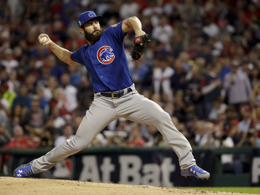 Cubs starting pitcher Jake Arrieta was handed a big lead by Chicago's offense early in the game.