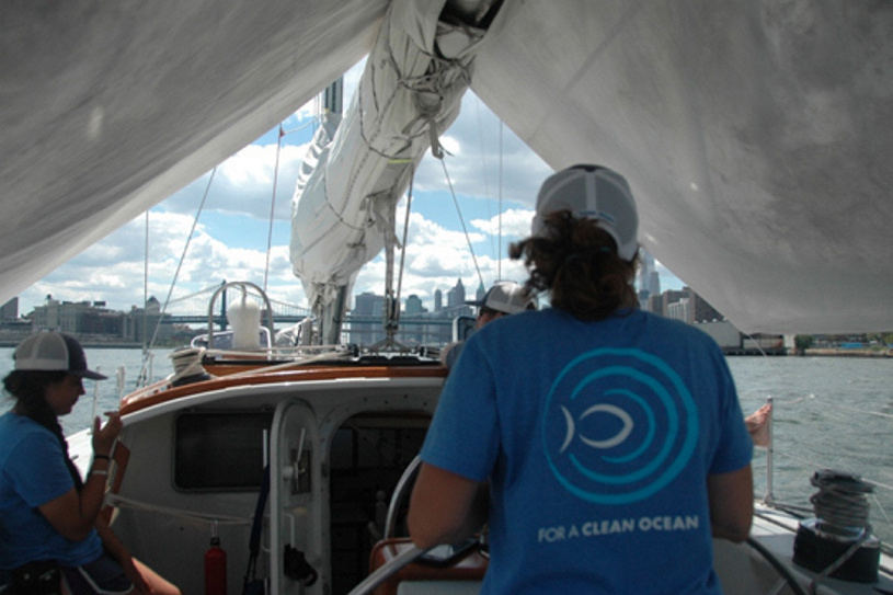 The American Promise and its crew navigate the Hudson River in New York Harbor as part of an effort to see how pervasive microfibers have become in U.S. waterways.