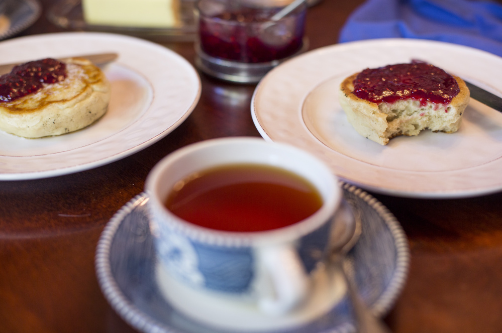 Toastable crumpets with tea and jam.