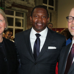Kristen Farnham, vice president of development at Spurwink, with former New England Patriot and Humanitarian Award recipient Troy Brown and Eric Meyer, president and CEO of Spurwink.