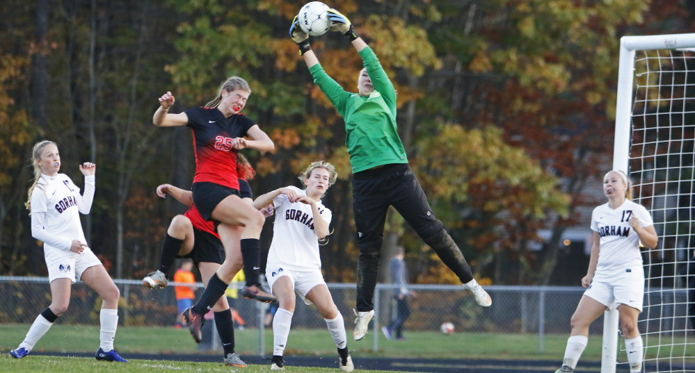 Emma Smith, who has been tough to beat as the Gorham goalkeeper this season, and her teammates will look for one final big performance Saturday when they meet Camden Hills in the Class A state final. Gorham has allowed just seven goals in 17 games, and the Windjammers have scored 108 in winning Class A North.