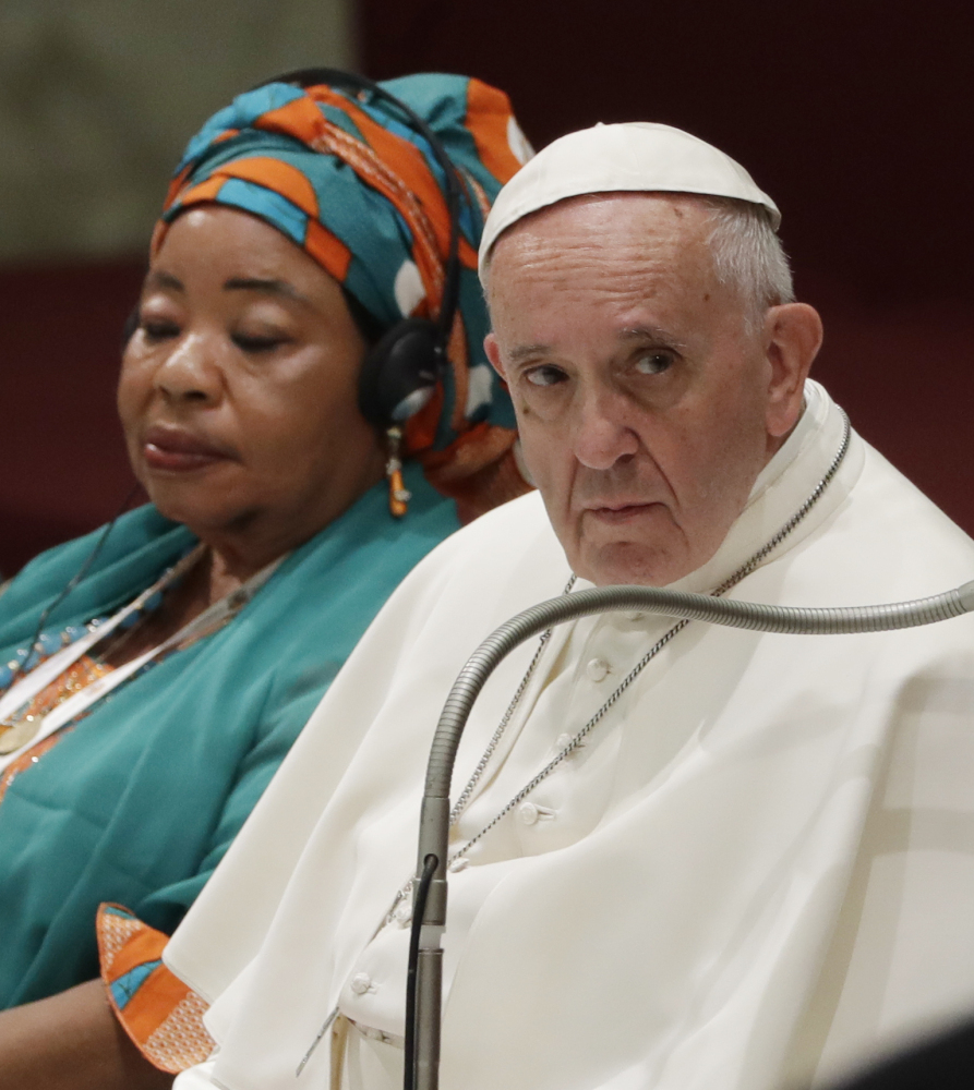 Pope Francis gives an audience at the Vatican on Saturday.