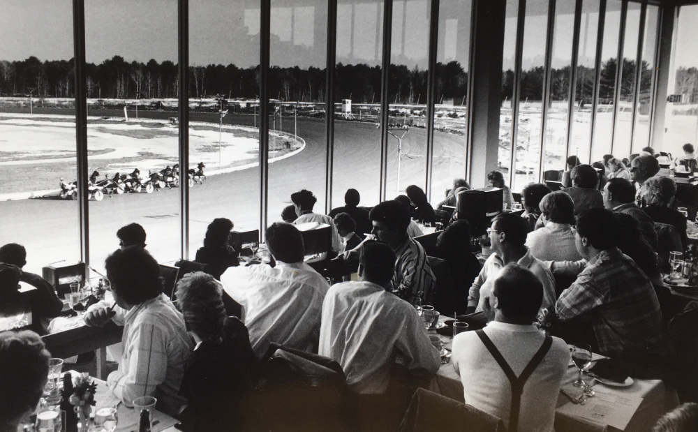 MARCH 1990: The 400-seat clubhouse is packed on opening day at Scarborough Downs. These days, only Kentucky Derby day draws this kind of crowd.