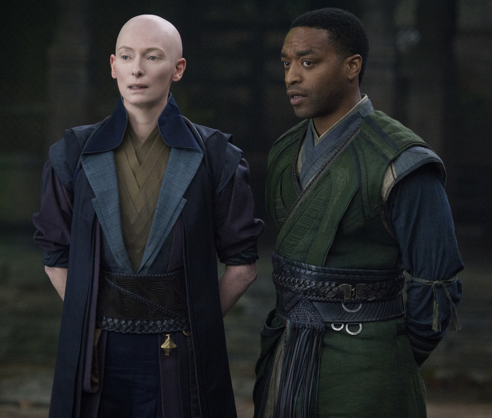 Tilda Swinton and Chiwetel Ejiofor appear in a scene from Marvel's new movie,