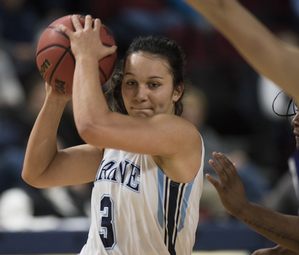 Naira Caceres, a 6-foot guard, is one of three freshmen from Spain on Maine's roster, which also includes two freshmen from Croatia and one each from Sweden and Canada.