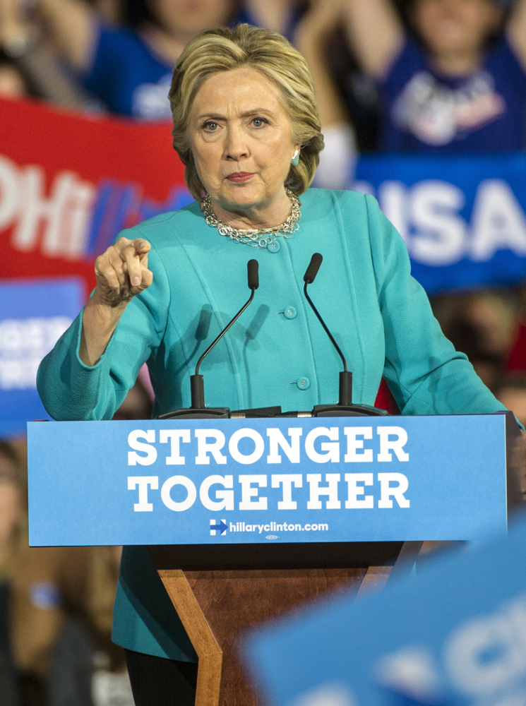 Hillary Clinton speaks at a rally in Cleveland on Sunday.