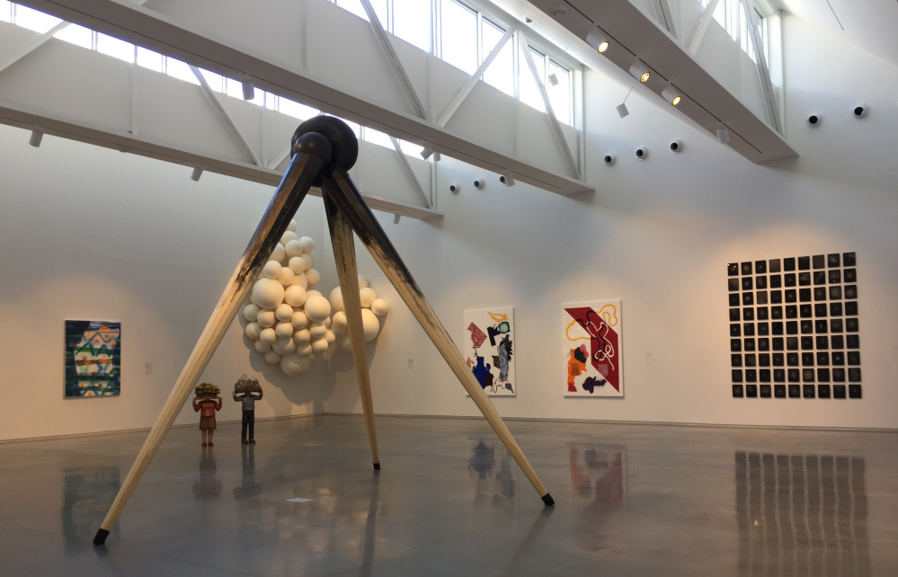 Installation view of the 2016 CMCA Biennial shows work by, from left, Kayla Mohammadi, Andrew White (tri-pod, foreground), Sachiko Akiyama, Sarah Bouchard, George Wardlaw and Cole Caswell.