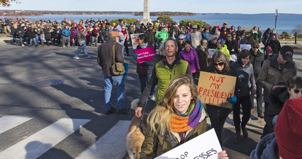 PORTLAND, ME - NOVEMBER 12: Hundreds of protesters march from Eastern to Western Promenade to protest President-Elect Donald Trump. (Photo by Ben McCanna/Staff Photographer)