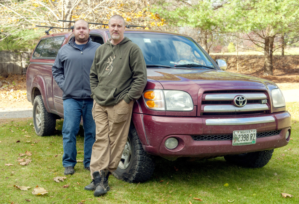 Tom Robinson, left, of Litchfield, and Ron Greco, of Cumberland, were driving near Jackman recently when they came upon a suspected drunken driver and reported it to police.