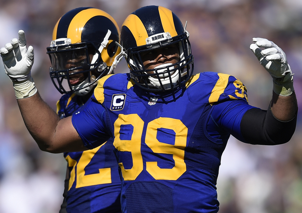 Los Angeles Rams defensive tackle Aaron Donald, now in his third season, could be considered the top defensive player in the league, especially with J.J. Watt out for the season.