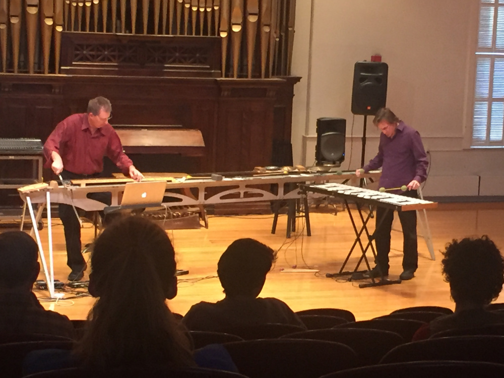 Paul Dresher, left, and Joel Davel play at Corthell Concert Hall in a showcase of musical improvisation and movement.