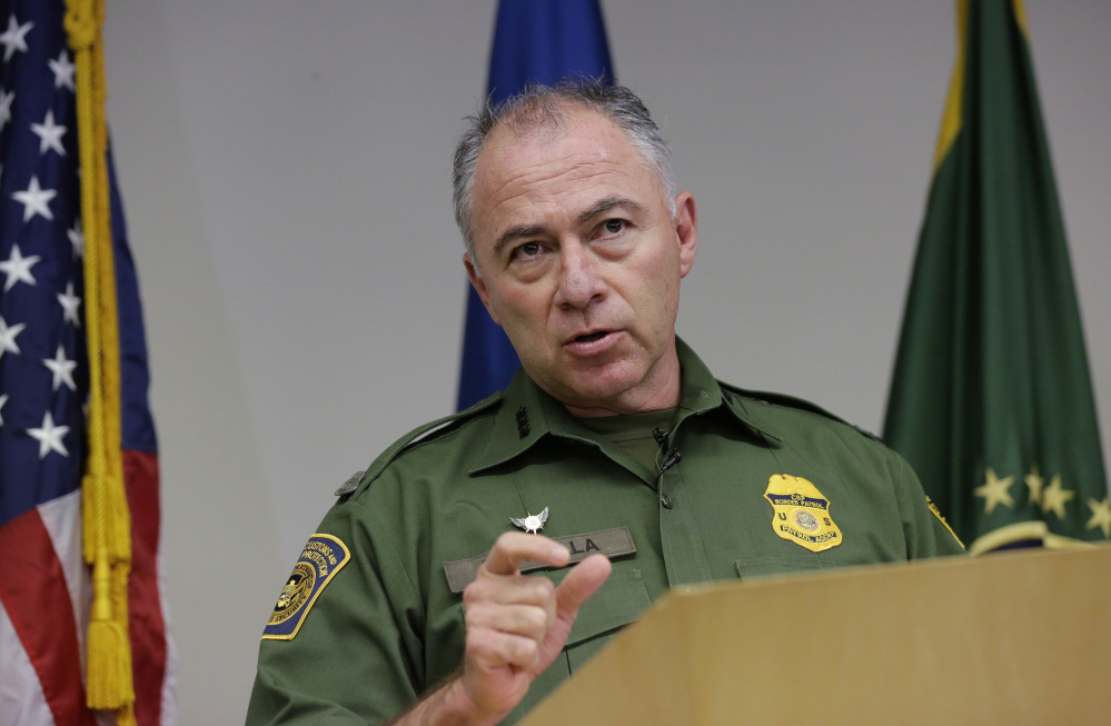 U.S. Customs and Border Patrol Sector Chief Manuel Padilla Jr. talks to the media during a news conference, Monday in Edinburg, Texas. In response to a surge in asylum-seekers from violence-wracked Central America, the Border Patrol has sent 150 reinforcements from neighboring states to the Rio Grande Valley.