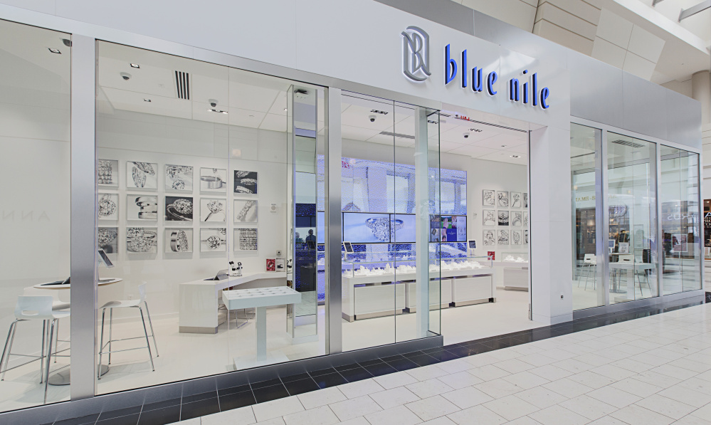 The Blue Nile Webroom at Washington Square in Portland, Ore., offers customers a chance to touch and feel the jewelry settings before placing their online orders. Many other online companies are betting on shoppers wanting stores.