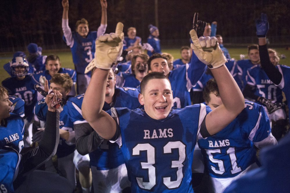 Kennebunk linebacker Donte DeLorenzo celebrates a 42-21 victory over Biddeford last Friday in the Class B South finals. DeLorenzo is one of four sophomores who start for Kennebunk, which faces Brunswick Friday night in Orono for the Class B state championship. Brianna Soukup/Staff Photographer