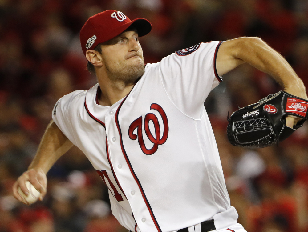 Max Scherzer of the Washington Nationals on Wednesday became the sixth pitcher to win the Cy Young Award in both leagues and the first since Roy Halladay in 2010.