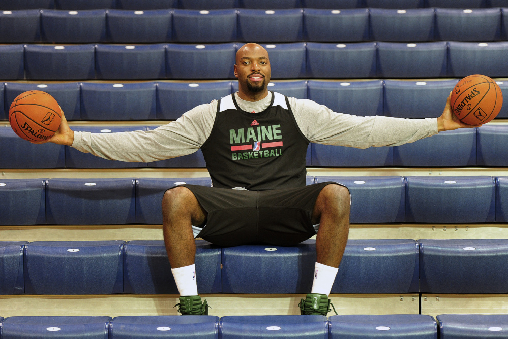 Dallas Lauderdale of the Maine Red Claws stands 6-foot-8 with a wingspan of 7-6, which makes him extremely valuable in the middle. The Red Claws' home season begins Friday night at the Portland Expo.
