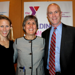 YMCA of Southern Maine incoming board chair Jenna Klein Jonsson, CEO Helen Brena and outgoing board chair Bill Whitmore.