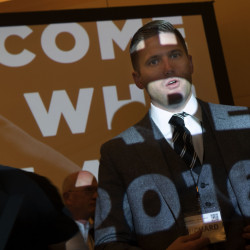 Richard Spencer, president of the National Policy Institute, answers questions Saturday from the media at the annual white nationalist conference hosted by his organization.