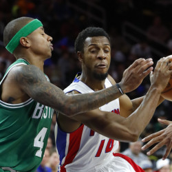 Detroit Pistons guard Ish Smith drives on Celtics guard Isaiah Thomas in the second half of Saturday's game in Auburn Hills, Mich. Al Horford's basket with 1.3 seconds left lifted Boston to a 94-92 win. (Associated Press/Paul Sancya)