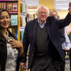 Sen. Bernie Sanders greets the more than 500 fans who attended his book signing Monday in South Portland. Brianna Soukup/Staff Photographer