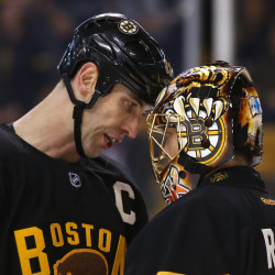 Boston Bruins goalie Tuukka Rask, right, won't have 6-foot-9 defenseman Zdeno Chara, left, to protect the crease on Thursday after Chara left Tuesday's game against St. Louis with an undisclosed injury.