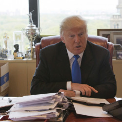 Then-presidential candidate Donald Trump speaks during an interview in his office at Trump Tower in May. Trump's hands-on, minutiae-obsessed management style will be tested by the presidency.