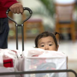 Liang Giang Ying sits in a wagon full of packages as her father pulls her through South Coast Plaza in Costa Mesa, Calif., on Black Friday.