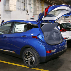 A Chevrolet Bolt EV is displayed at the GM plant in Orion Township, Mich. The Bolt will cost less than the average new U.S. vehicle, but may be a hard sell with gas at just over $2 a gallon.