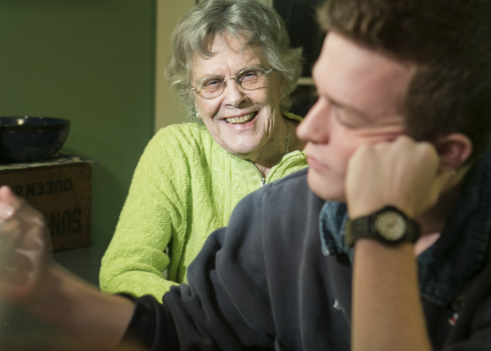 """Phyllis Sanders with her great-grandson Noah Laster, who was happy to come home to Cream Cheese on Toast – which actually doesn't contain any cream cheese. """"I love this stuff,"""" Laster says. """"It's like Christmas morning."""""""