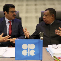 Mohammed Bin Saleh Al-Sada, minister of energy and industry of Qatar and president of the OPEC conference, left, talks with Mohammad Sanusi Barkindo, OPEC secretary general of Nigeria prior to the start of a meeting of the Organization of the Petroleum Exporting Countries at its headquarters in Vienna, Austria, on Wednesday.