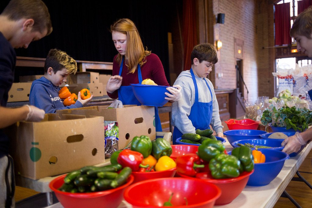 From Left, Isaac Small, 13, Calvin Small, 12, Genevieve Depke, 14, William  Depke, 11, And Dan Haskell, 14, Work Together To Set Up The Groceries That  ...