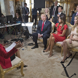 In this image released by CBS News, 60 MINUTES Correspondent  Lesley Stahl, left, interviews President-elect Donald J. Trump and his family, wife Melania, daughter Ivanka, seated right, daughter Tiffany, seated second row from left, and sons Donald Jr. and Eric at his home, Friday, Nov. 11, 2016, in New York. The first post-election interview for television will be broadcast on 60 MINUTES on Sunday. (Chris Albert for CBSNews/60MINUTES via AP)