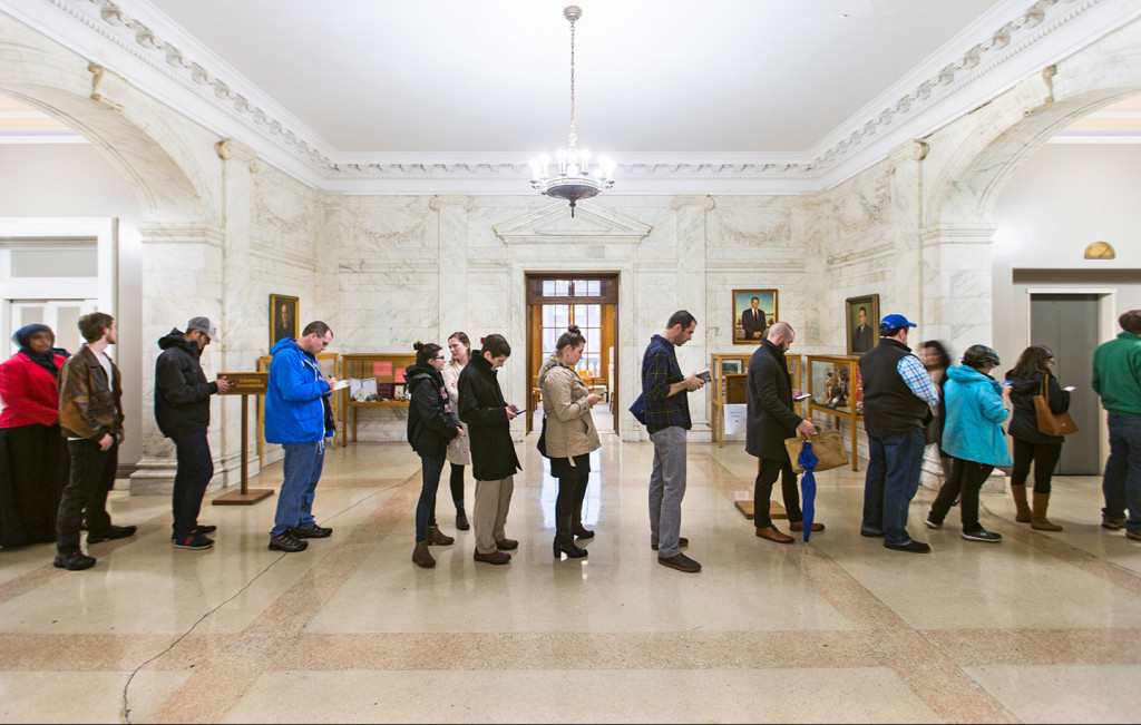 Turnout was strong Thursday for the final day of absentee voting at Portland City Hall. Ben McCanna/Staff Photographer