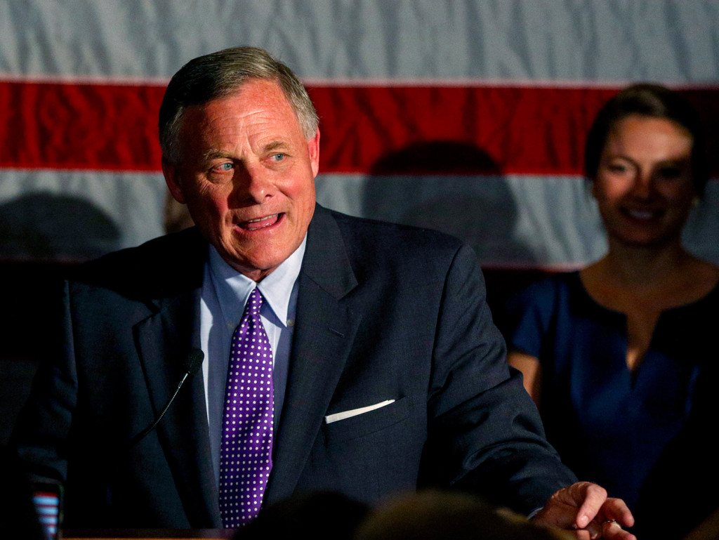 Sen. Richard Burr, R-N.C., talks to supporters as he gives his acceptance speech in Winston-Salem, N.C., after winning re-election Tuesday, holding a key seat for Republicans. Democrats had high hopes of unseating Burr.