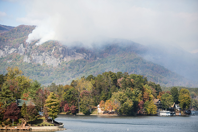 Smoke from the Party Rock fire near Lake Lure in North Carolina.