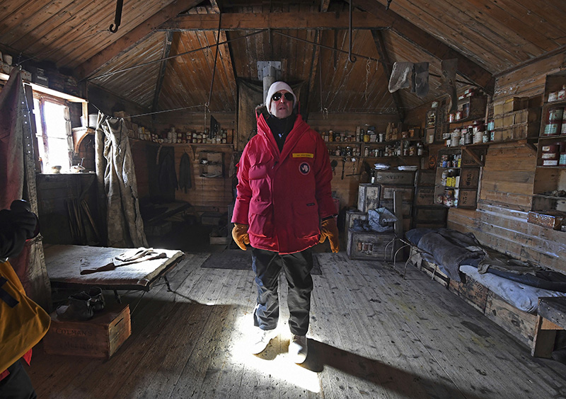 U.S. Secretary of State John Kerry stands inside the historic Shackleton hut near McMurdo Station, Antarctica.