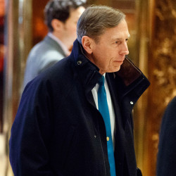 Former CIA director retired Gen. David Petraeus arrives at Trump Tower for a meeting with President-elect Donald Trump on Monday in New York.