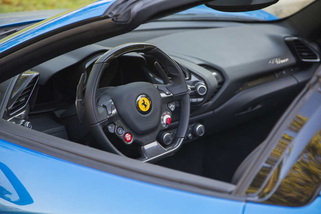 The 2017 Ferrari 488 Spider is powered by a 3.9-liter turbo charged V8 engine that produces 670 horsepower and 560 pound feet of torque. It goes from 0-60mph in under 3 seconds.