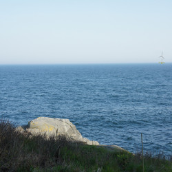 This artist rendering shows what the wind turbines would look like facing south from Monhegan Island's Norton's Ledge.