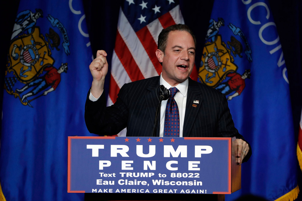 Reince Priebus speaks at a Donald Trump rally in Wisconsin in November 2016.