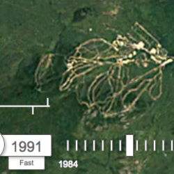 Google Timelapse screenshot of Sunday River ski resort in 1991.