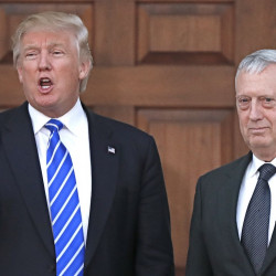 President-elect Donald Trump talks to the media alongside retired Marine Corps Gen. James Mattis at Trump National Golf Club Bedminster in New Jersy on Saturday. Associated Press/Carolyn Kaster