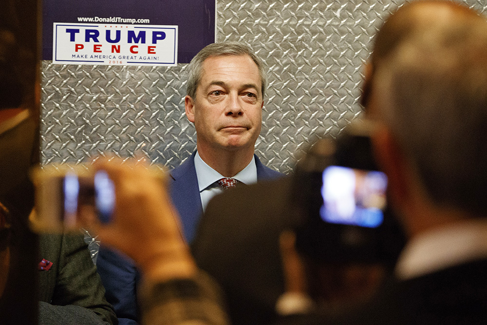 U.K. Independence Party leader Nigel Farage gets on an elevator at Trump Tower in New York on Nov. 12. Farage has told friends that he is preparing to emigrate to the United States – possibly Maine.